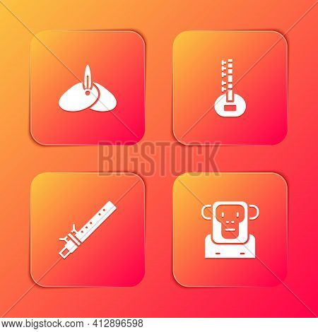 Set Indian Headgear Turban, Sitar, Bamboo Flute Indian And Monkey Icon. Vector