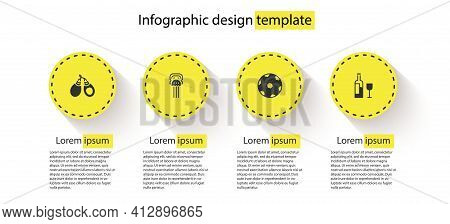 Set Castanets, Peineta, Football Ball And Wine Bottle With Glass. Business Infographic Template. Vec