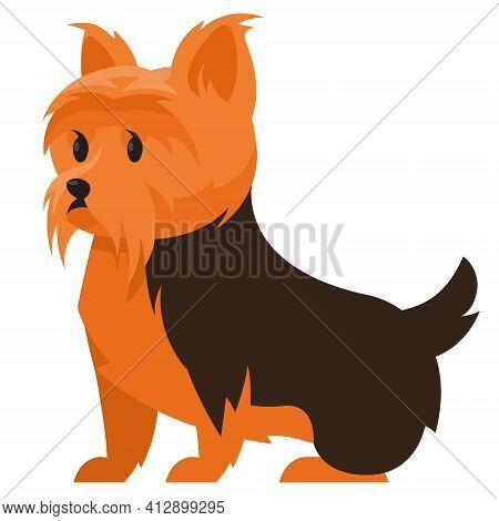 Sitting Yorkshire Terrier. Cute Pet In Cartoon Style.