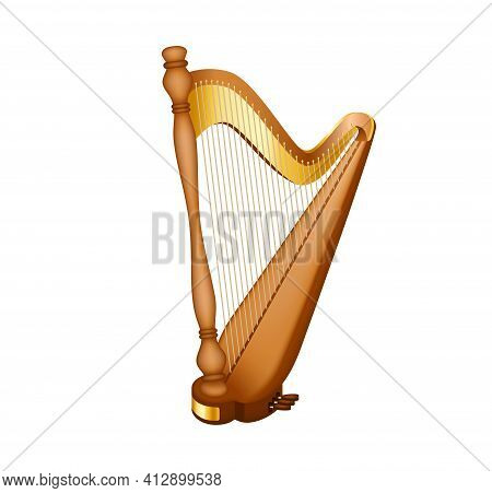 Realistic Image Of The Concert Harp. National Irish String Musical Instrument. Classic Musical Strin