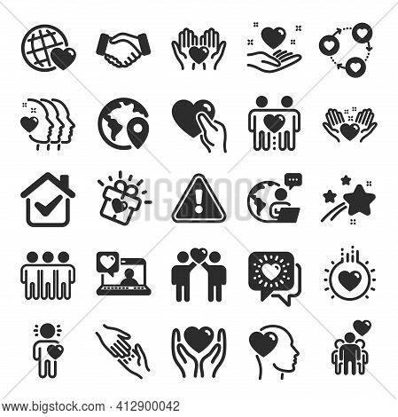 Friendship And Love Icons. Interaction, Mutual Understanding And Assistance Business. Vector