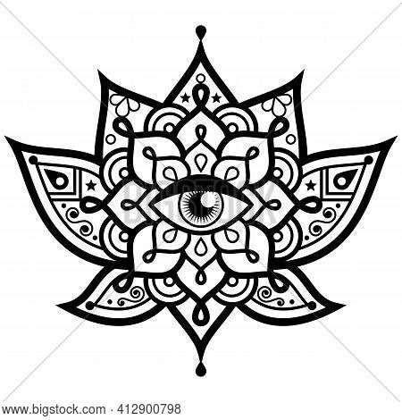 Lotus Flower With Evil Eye Mandala Vector Design - Symbol Of Protection, Yoga, Zen, Buddhism, Mindfu