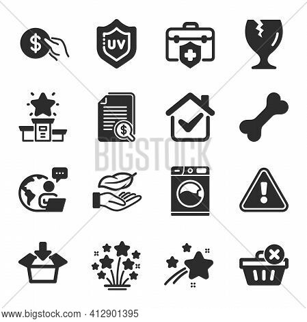 Set Of Business Icons, Such As Get Box, Lightweight, Medical Insurance Symbols. Vector