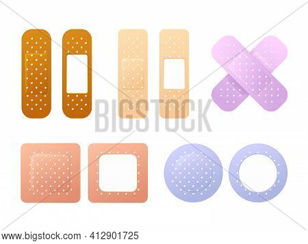 Realistic Detailed 3d Color Aid Band Plaster Medical Patch Set. First Aid Band Plaster Strip Medical