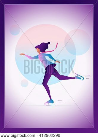Young Girl Skating Illustration Vector. Woman Character Skating In The Park Flyer Banner Design