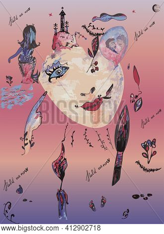 Psychedelic Drawing From Multicolored Pieces.  Female Face, Towers, Mermaid, Flowers And Balloon.  F