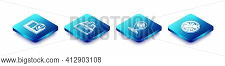 Set Isometric Line Interesting Facts, Download Inbox, Location Service And Stop Virus, Bacteria Icon