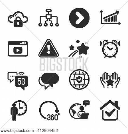 Set Of Technology Icons, Such As Ranking, Restructuring, 360 Degrees Symbols. Vector