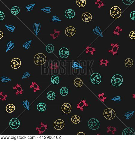 Set Line Kidney Beans, Man With Excessive Sweating, Runny Nose And Crab On Seamless Pattern. Vector