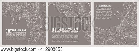 Geographic Mountain Topography Vector Illustration. Topographic Pattern Texture. Map On Land Vector
