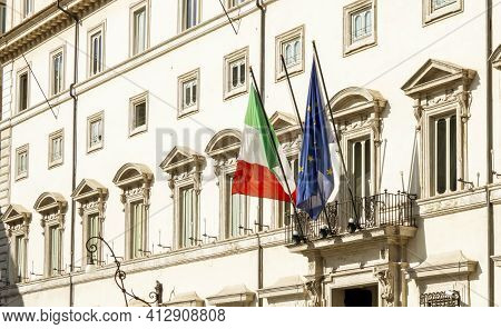 Facade Of Palazzo Chigi In Rome, Seat Of The Italian Prime Minister And Government. The Italian And