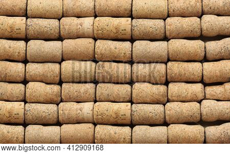 Abstract Background Of Old Wine Corks, New Wine Corks, Wine Corks From Sparkling And Other Wine Cork