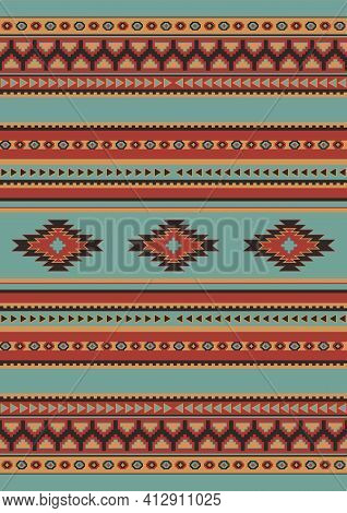 Ethnic Geometric Pattern Of Beige, Light Blue And Red Colors. Seamless Pattern. Mexican Rug. Woven C