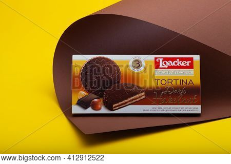 Prague,czech Republic - 10 March, 2021: Tortina Loacker Napolitaner Wafers.loacker Is An Italian Com