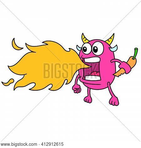 Fire Spitting Evil Devil Emoji Sticker, Doodle Icon Image. Cartoon Caharacter Cute Doodle Draw