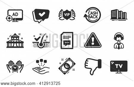 Tv, Approved And Seo Adblock Icons Set. Comments, Anti-dandruff Flakes And Vip Security Signs. Vecto