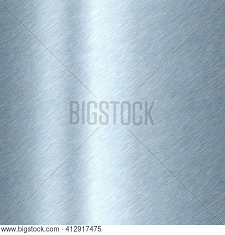 Shiny Brushed Metal Background Texture. Polished Metallic Steel Plate. Sheet Metal Glossy Shiny Silv