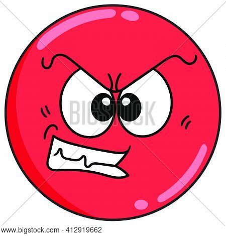 Emoticon Ball With An Expression Of Restraining Anger, Doodle Icon Image. Cartoon Caharacter Cute Do