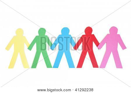 Row of mufti-coloured paper cut out figures over white background poster