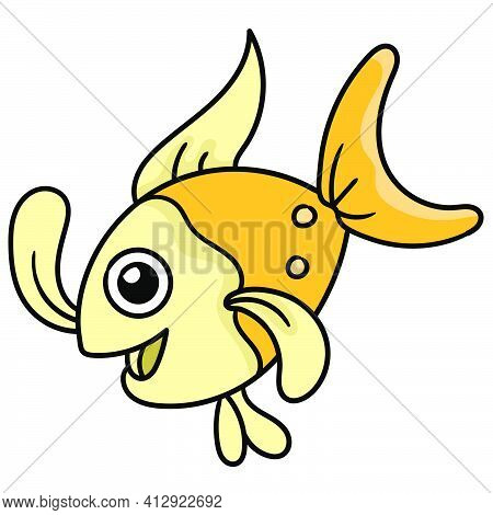 Goldfish Swimming With Happy Faces, Doodle Icon Image. Cartoon Caharacter Cute Doodle Draw