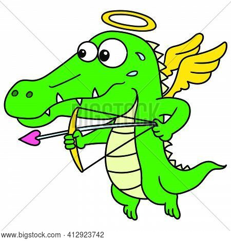 The Crocodile Angel With The Arrow Of Amorous Love, Doodle Icon Image. Cartoon Caharacter Cute Doodl