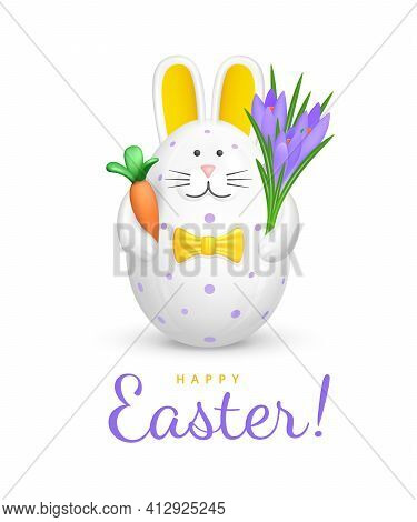 Happy Easter Greeting Card. Cute Bunny Shaped Easter Egg. Figurine Of White Rabbit With Purple Speck