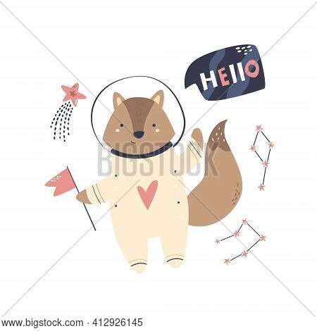 Vector Illustration Of A Funny Fox Astronauts And Cosmic Objects. Perfect For Greeting Cards, Wall A