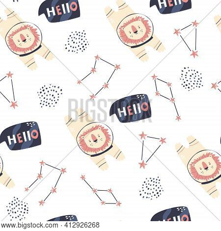 Cosmic Seamless Pattern With Cute Lion Astronauts And Different Constellations