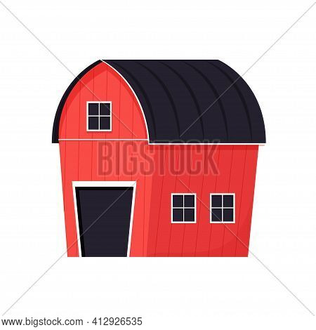Red Barn In Cartoon Style With Door, Windows Isolated On White Background. Farmyard Building, Outdoo