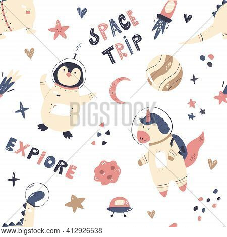 Vector Seamless Pattern With Cute Astronauts Unicorn, Penguin, Dinosaur And Space Objects
