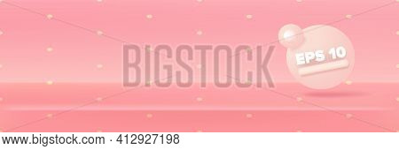 Vector Empty Pastel Pink Color Studio Table Room Background, Product Display With Copy Space For Dis