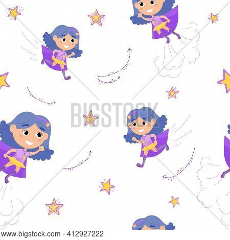Superhero Kids Cartoon. Vector Illustration Of A Superhero Girl.the Girl Hurries To The Rescue.