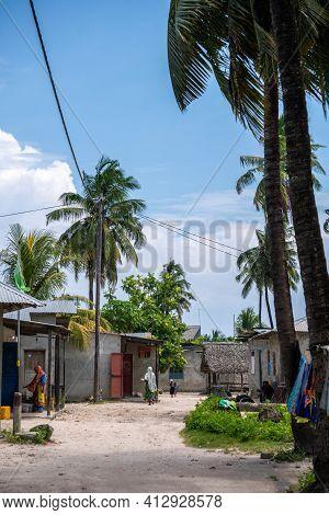 Zanzibar, Tanzania - January 2020: Black African People In Their Usual Lifestyle On Streets In Zanzi