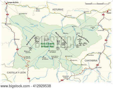 Vector Map Of The Spanish National Park Picos De Europa