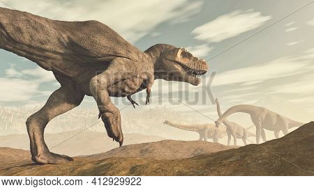 T Rex And Brachiosaurus Species In The Valley . This Is A 3d Render Illustration .