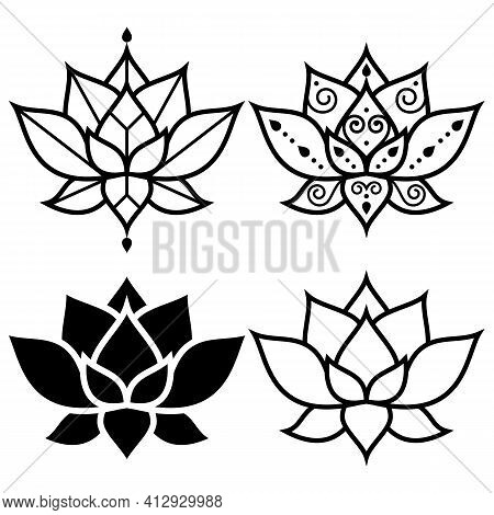 Lotus Flowers Simple Geometric Design Set -  Yoga, Zen, Buddhism, Mindfulness Concept