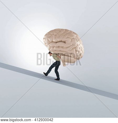 Man Carries A Human Brain . This Is A 3d Render Illustration .