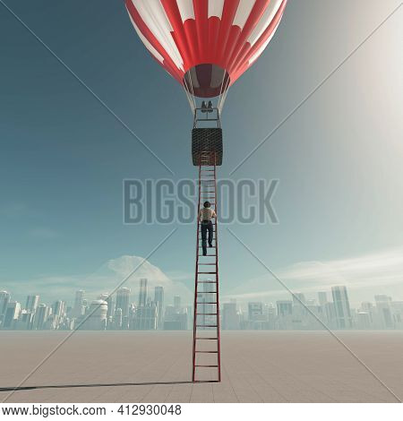 Man Climbs On Ladder To A Hot Air Balloon . This Is A 3d Render Illustration .