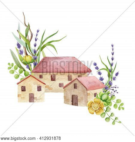 Brick House, Cottages With Red Roof Tiles. Small Village Houses With Lavender And Garden Flower Deco