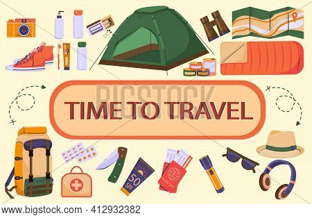 Travel Set Of Colorful Images In Cartoon Style.