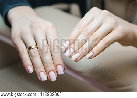 Beautiful Well-groomed Hands With Nails After Correction Of Gel Coating Of Nails And Before Applying
