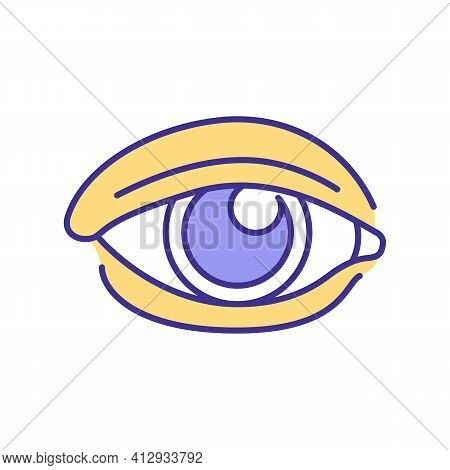 Human Eye Rgb Color Icon. Human Body Organ Which Gives Opportunity To See World Around. Gathering Li