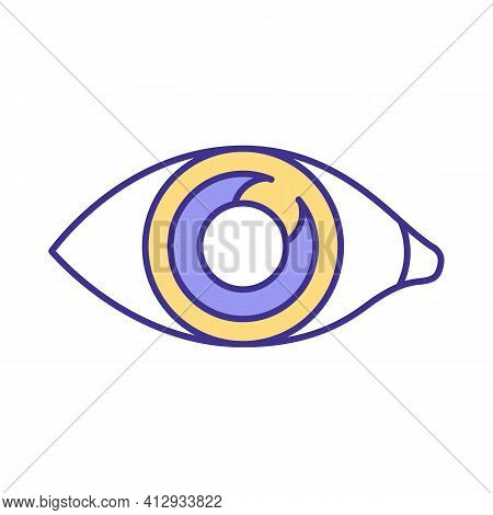 Human Eye Rgb Color Icon. Human Body Organ Which Gives Opportunity To See World Around. Small Parts