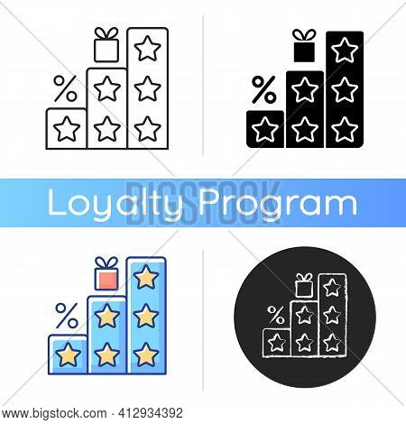 More Points And Rewards Icon. Tier Program. Tiered Loyalty Program. Purchasing Things And Getting Bo
