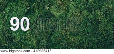 Green Grass, Digit Ninety. Birthday Greeting Card With Inscription 90. Anniversary Concept. Banner.