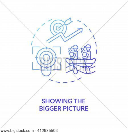 Showing Bigger Picture Concept Icon. Important Work Of Employee Idea Thin Line Illustration. Worker