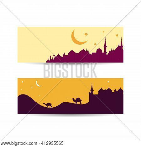 Muslim Abstract Greeting Banners. Islamic Vector Illustration. Desert Arabic Landscape Illustration