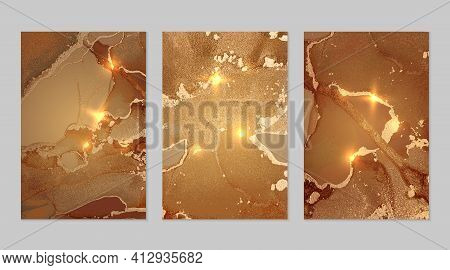 Set Of Marble Patterns. Gold And Light Brown Geode Textures With Glitter
