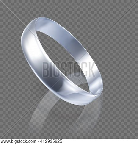 Realistic Ring From White Gold Or Silver. 3d Render Of Platinum Ring With Shadow And Reflection. Vec