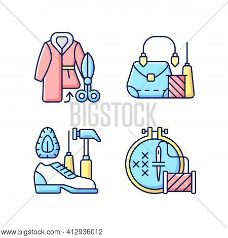 Clothes Repair Rgb Color Icons Set. Fur Outerwear Resizing. Leather Bag And Accessories Fix. Garment